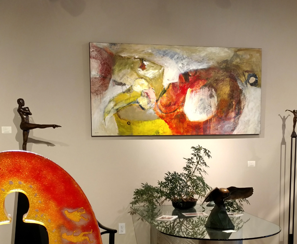 """""""Language of the Psyche,"""" Mixed Media Painting, 36 x 72, by Mathie."""