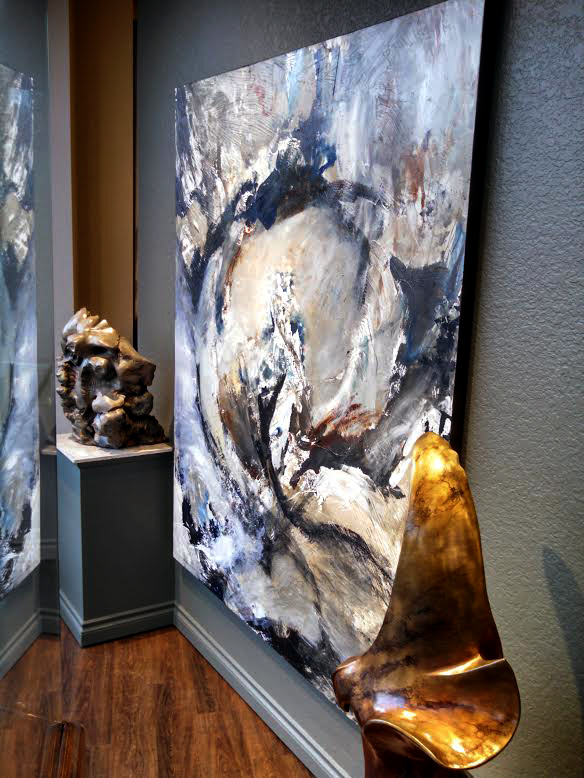 """""""Instinctive Sequence,"""" 72 x 60 inches, Mixed Media Painting, by Mathie. *SOLD — thank you! *Represented by Howard/Mandville Gallery, Kirkland, WA. *Bronze sculptures by Leo E. Osborne."""