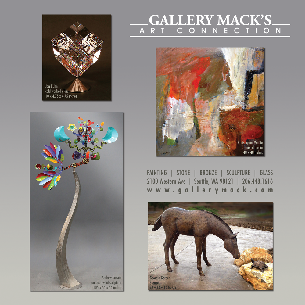 Full page ad for Gallery Mack in the 2017-18 edition of 'Where Guest Book Seattle.'