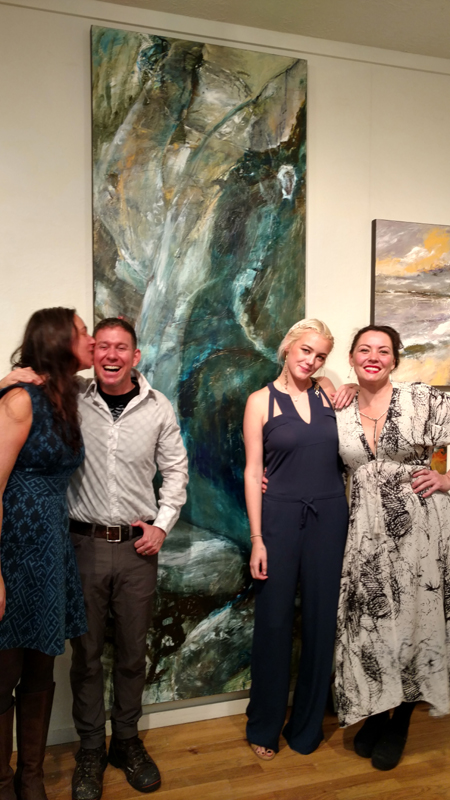 Christopher Mathie with the glamorous ladies of White Bird Gallery in Cannon Beach, OR... sales team extraordinaire... I love them so!!!  Left to right: Allyn (Gallery owner), Christopher, Summer & Drea.