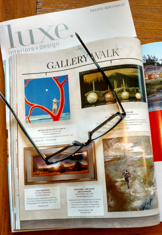 Mathie sailboat featured in current Luxe Magazine, Pacific Northwest Editon, Nov-Dec issue, page 116.