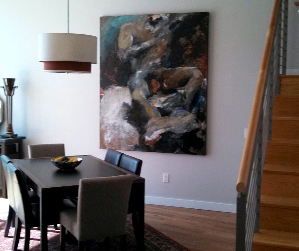 Installation of Mathie painting in private Portland collection.
