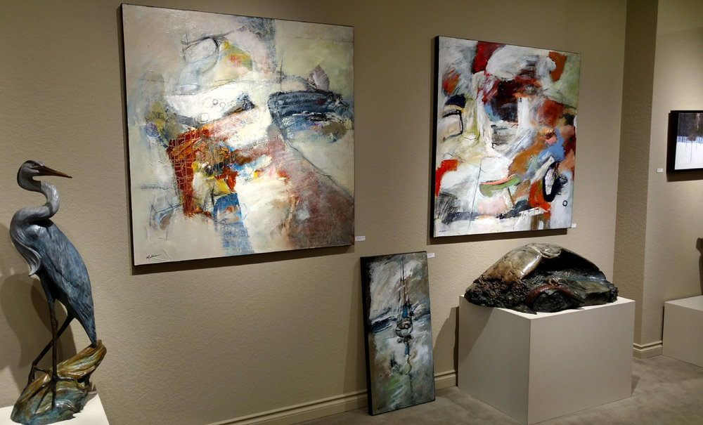 Current installation of Mathie paintings at Howard/Mandville Gallery in Kirkland, WA, 02-2018.