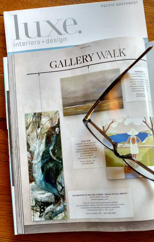 "My huge abstracted Humpback Whale painting is in the current Luxe Magazine, Pacific Northwest Edition, March-April 2018 issue, page 112, courtesy of White Bird Gallery in Cannon Beach, OR.   ""Celebration of Natural Power — Whale in Full Breach,"" Mixed Media, 108 x 36 x 2.5 inches, by Mathie. Do you have space for a dramatic 9 foot tall painting?!?! Thank You."