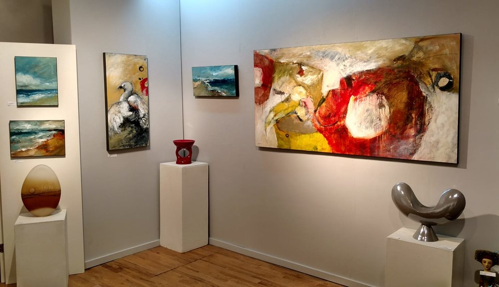 One corner of current Mathie solo exhibition at White Bird Gallery, Cannon Beach, OR.