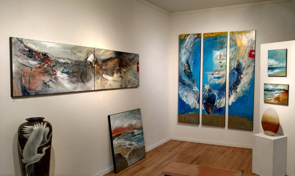 One corner of current installation at White Bird Gallery in Cannon Beach, OR.