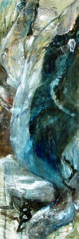 """Celebration of Natural Power — Whale in Full Breach,"" 108 x 36 x 2 inches,   *SOLD  — thank you!"