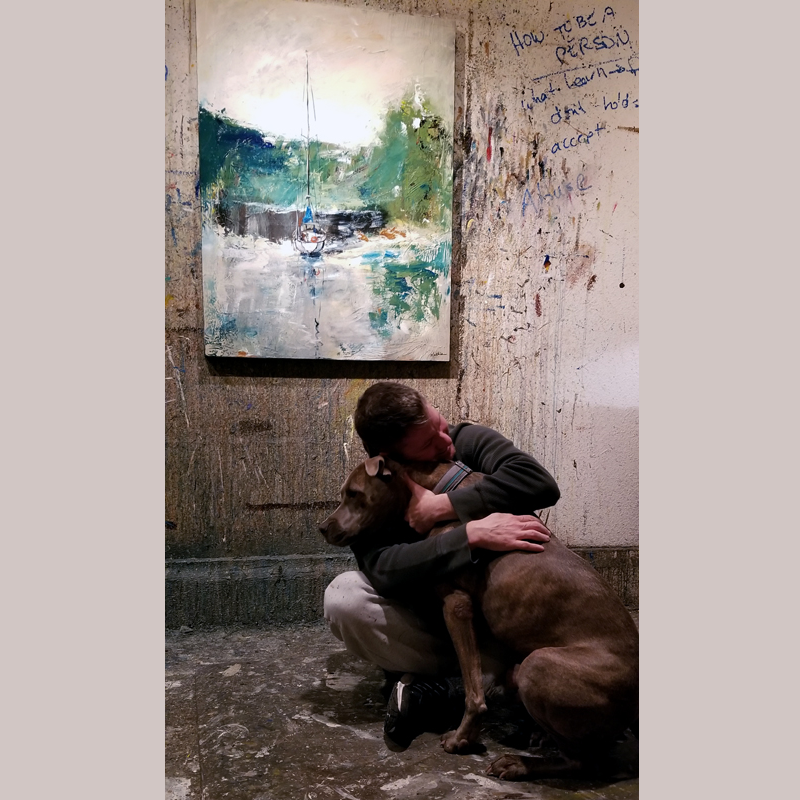 Sometimes you just need a hug from your dog. Studio, 11-2018. *Painting represented by Earthenworks Gallery, La Conner, WA.