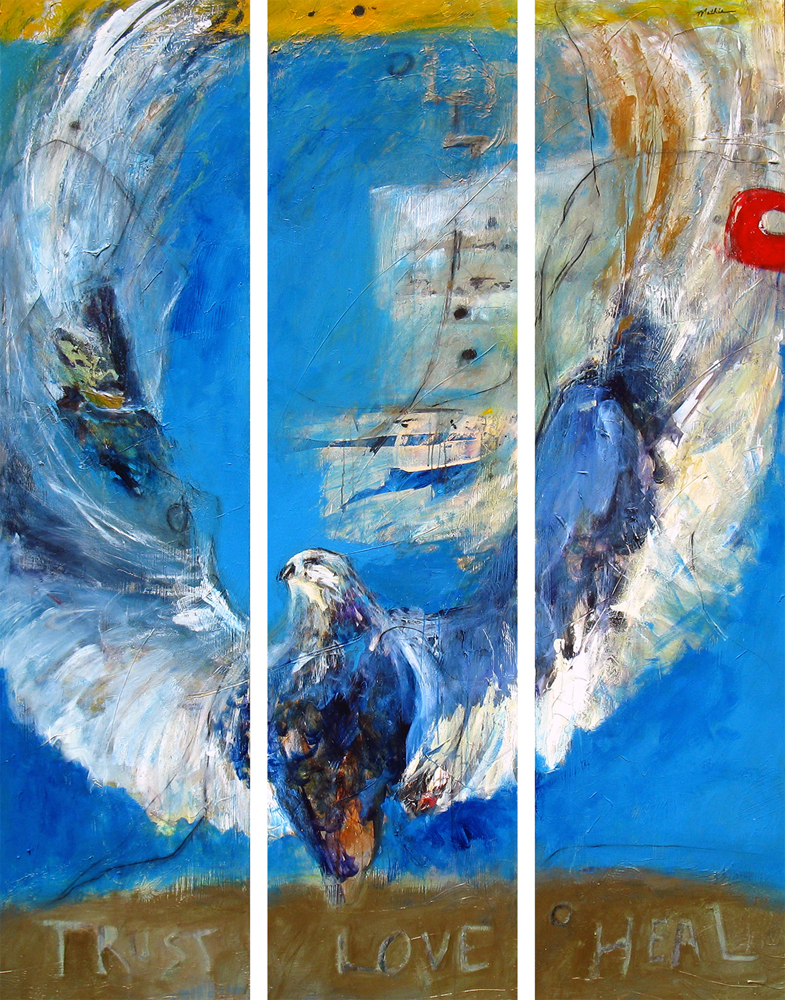 """""""We're Here to Heal Each Other,""""  80 x 60 inch triptych."""