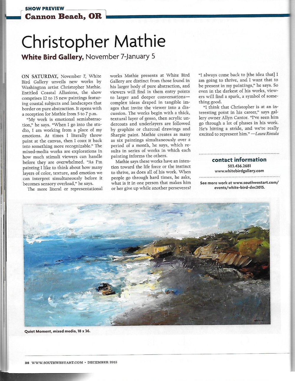 """Quiet Moment,"" was featured in Southwest Art Magazine, Dec. 2015."