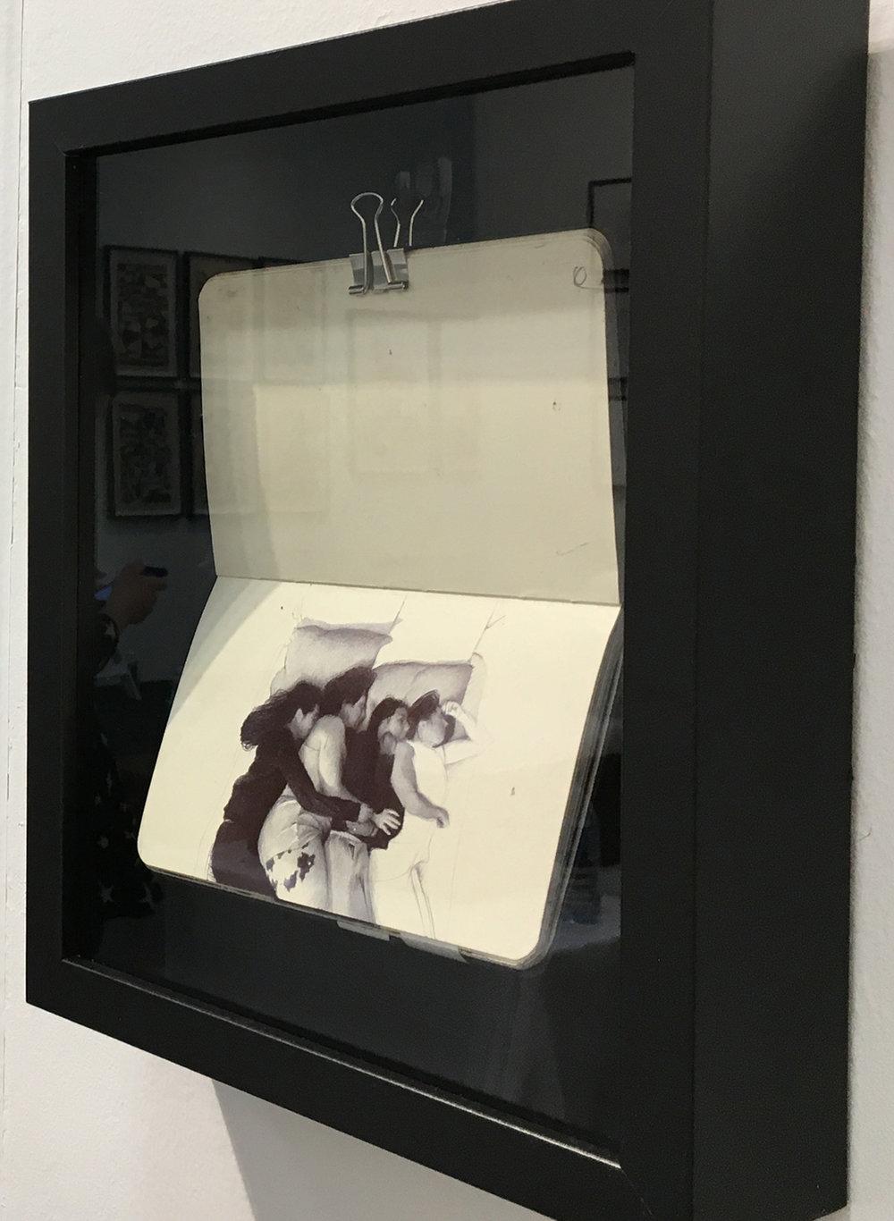 Sketchbook from artist's commute   2017 ballpoint pen in Moleskin sketchbook 3.5 x 5.5 inches
