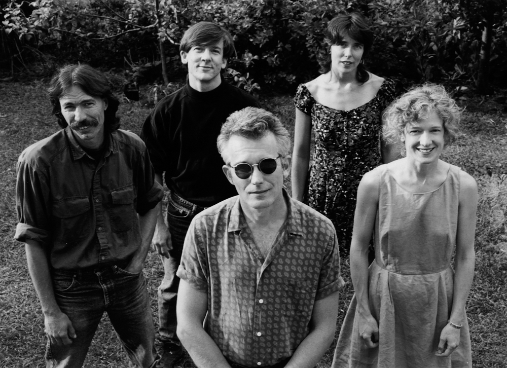 Neon Baptist, circa 1991. Front, left to right: Johnny Dowd, Cally Arthur. Back, left to right: Dave Hinkle, Mike Edmondson, Jennifer Dowd. Not shown: Max Ormond. Photo by Kat Dalton.