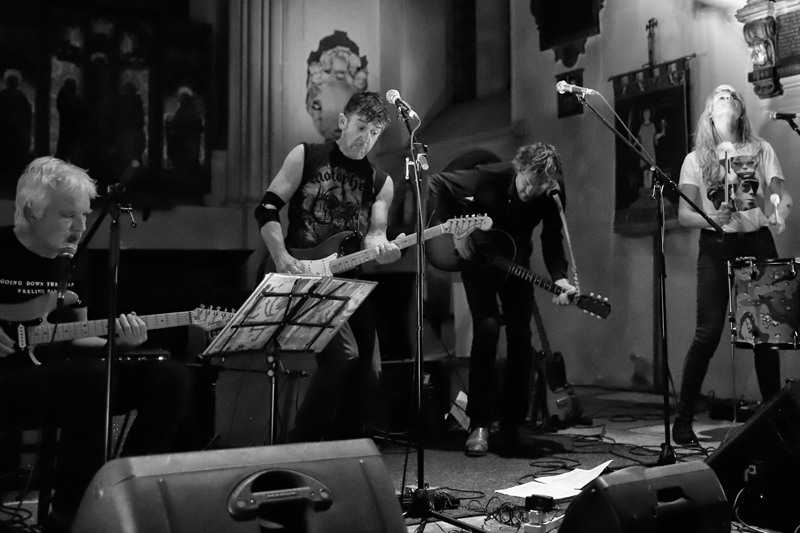 Photo by Gary Williams .  Taken during performance at St. Pancras Old Church, London, UK. Left to right: Johnny Dowd, Mike Edmondson, Melle de Boer, Suzanne Ypma.