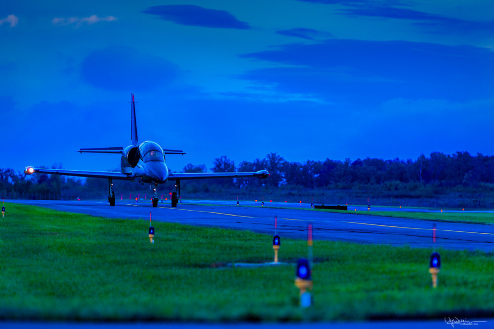 Taxing at dusk