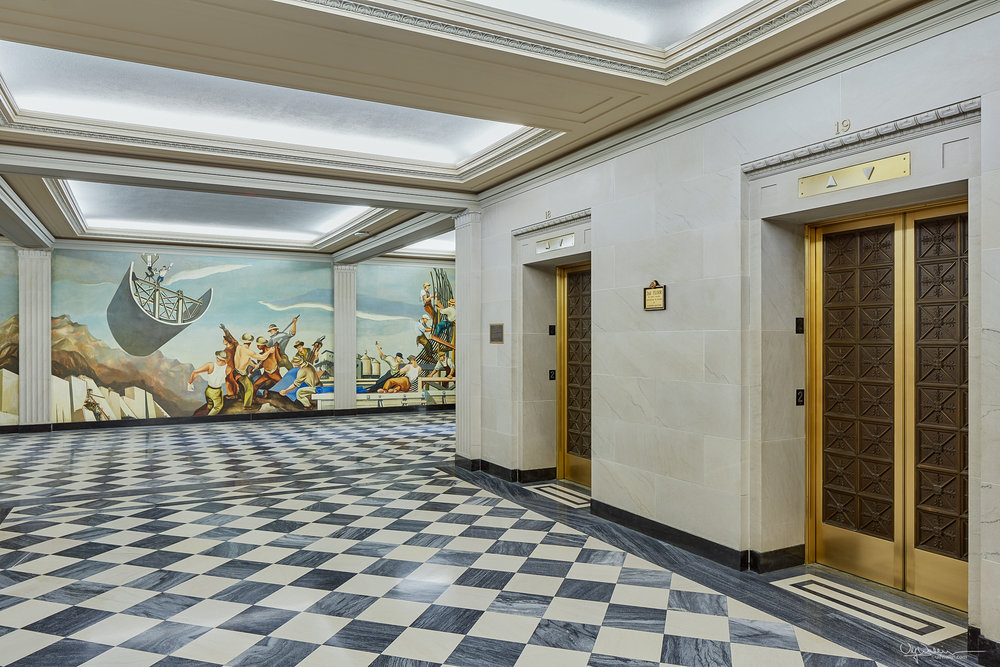 Historical mural and elevator