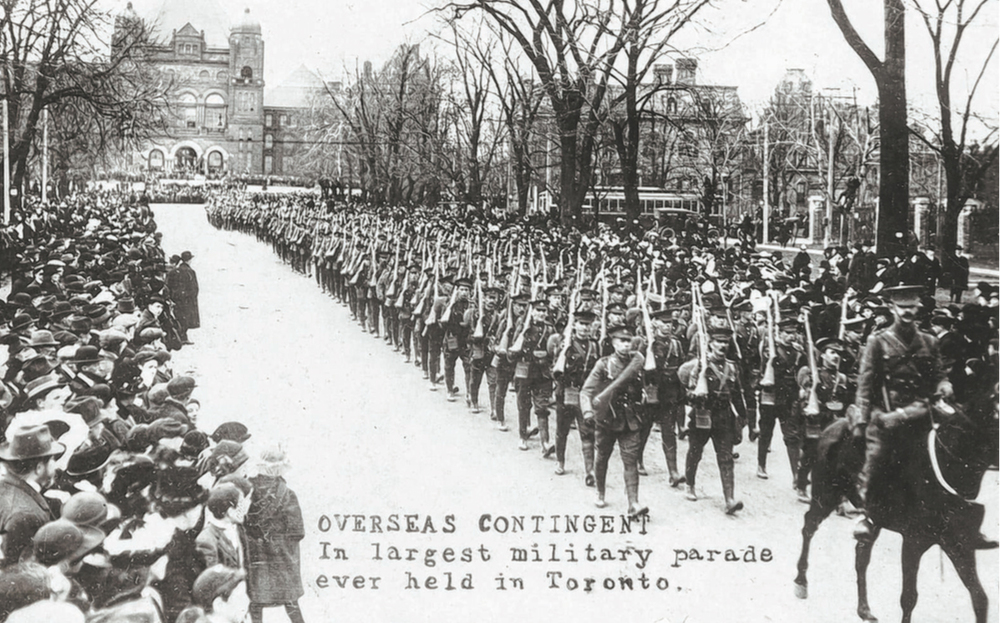 In November 1915, Lionel's unit leads a procession through the streets of Toronto. (Toronto Public Library)