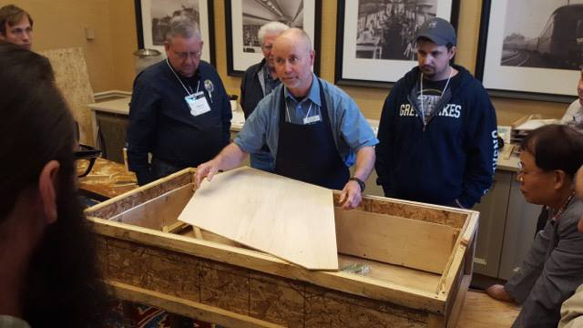 "Ken Eschete, RPT teaches ""Bellyman's Holiday"" an all-day workshop dedicated to bridge capping, soundboard and pinblock replacement."