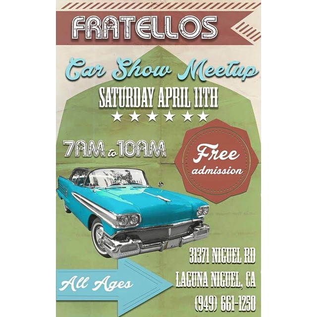 Put this on your calendar! Fratello's car show is right around the corner! 🚗🚘🚕#classiccars #classic #cars #carporn #carlover #vintagecar #classiccarporn #classiccardaily #carsofinstagram #sportscar #fratellos #fun #ocevents #lagunaniguel #allages #familyfun #aprilevent #carshow