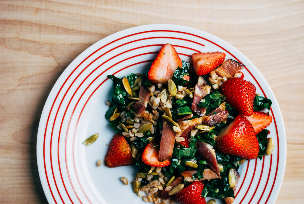 Farro, Kale, and Strawberry Salad with Bacon and Chili-Dusted Pepitas // Food52