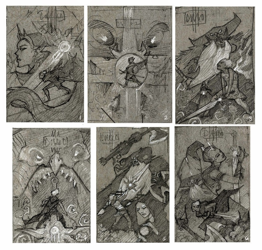 I started with thumbnails on toned grey paper, focusing mostly on shape and dark vs light.