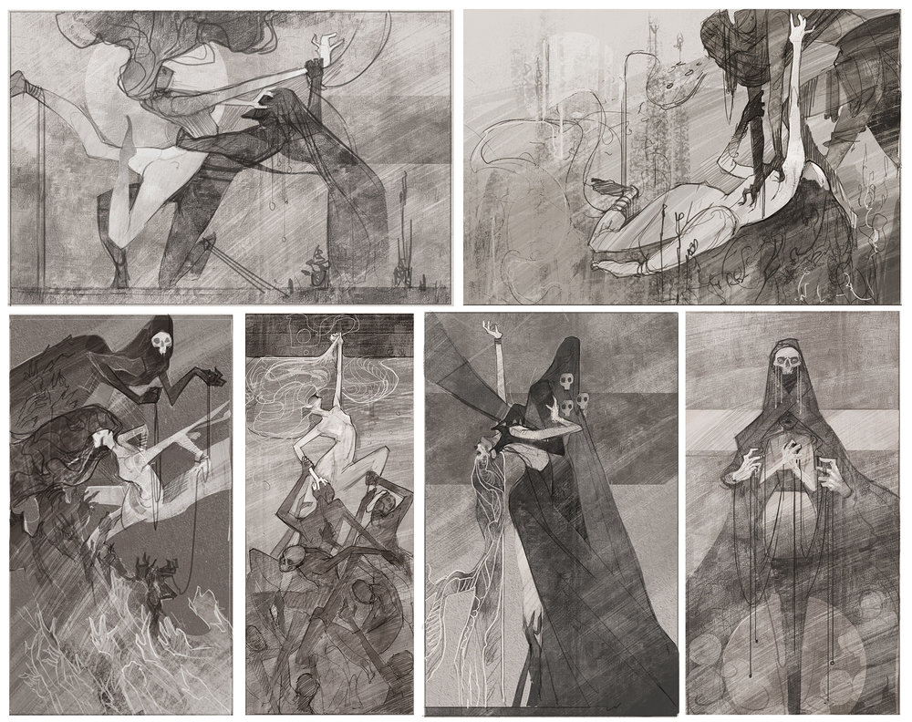 My final 6 thumbnails. The top right was the one the faculty were drawn to on Crit Day.