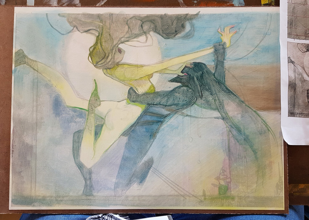 A tentative start to painting, finally, albeit it on a cropped piece.