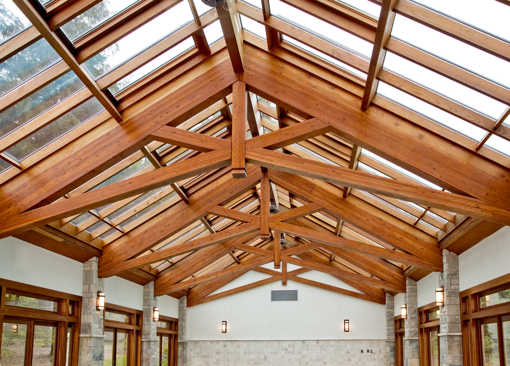 Glass Roof with Exposed Truss Support