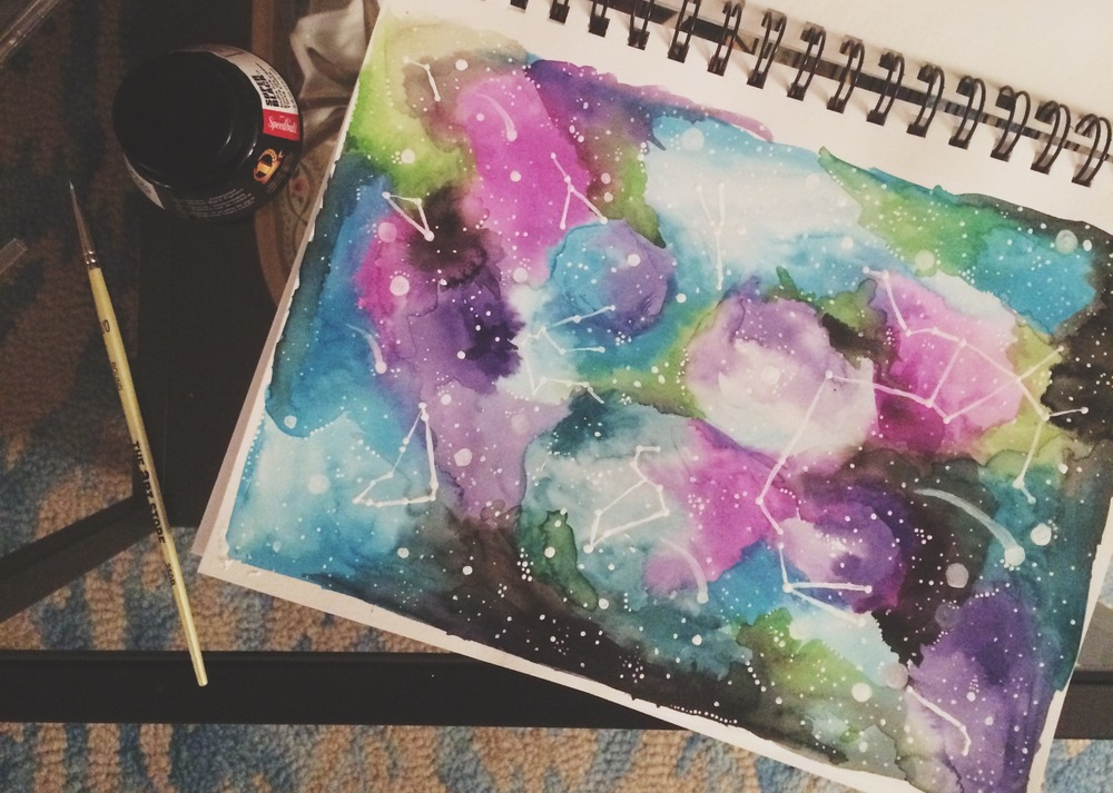 My watercolor galaxy from  this awesome Skillshare class