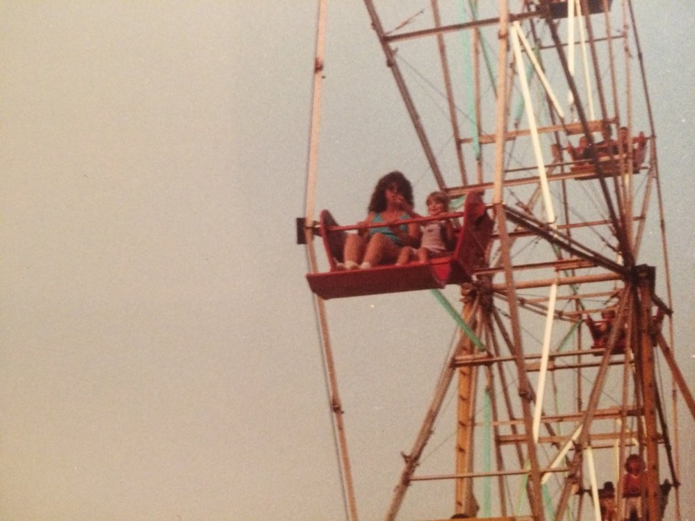 Me and Mum riding the ferris wheel at the Barnstable County Fair, a favorite childhood memory.