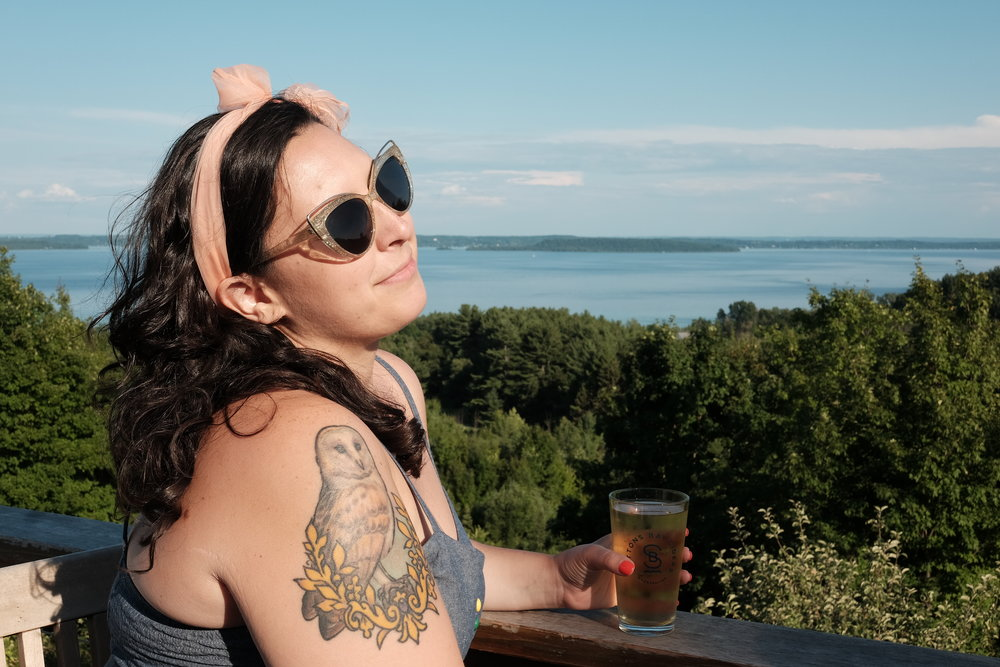 My friend Jocelyn living her best life at Suttons Bay Ciders this past summer