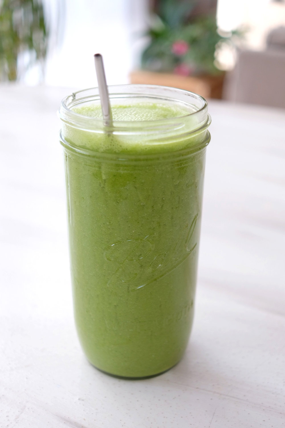 My Morning Green Drink - -8 oz. coconut water-2 mini cucumbers-3 stalks celery-1 handful leafy greens-3/4 cup frozen pineapple-Splash of water (or more)