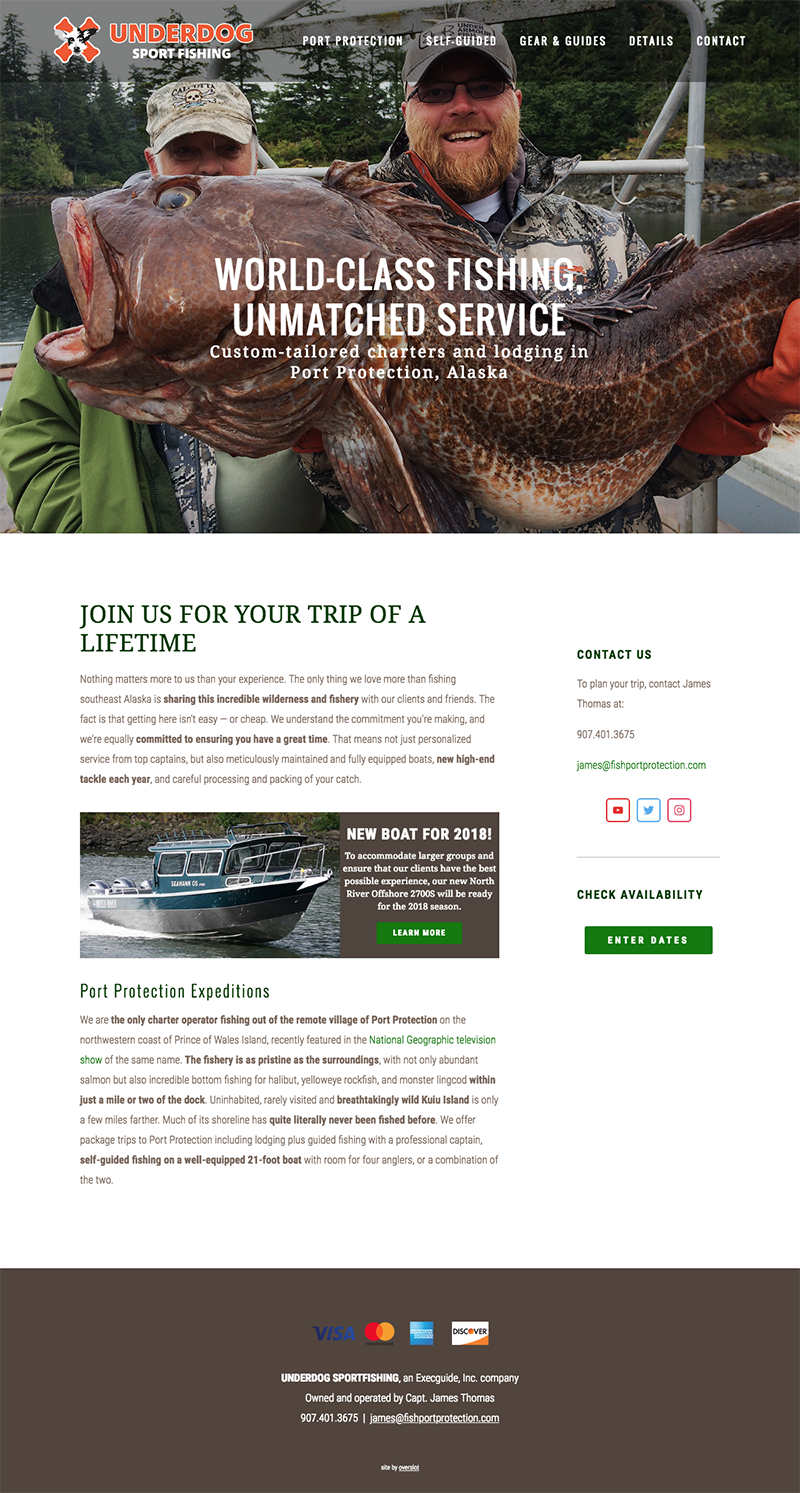 Charter fishing website sample 1
