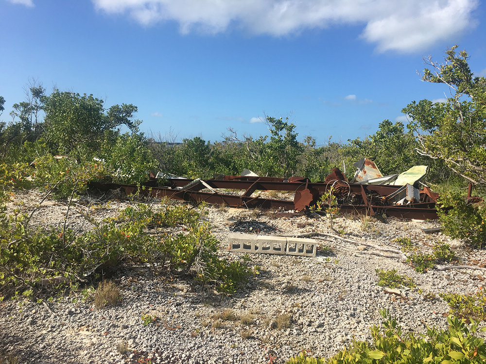 Abandoned and now hurricane-destroyed trailer beside an old limestone quarry on Budd Key