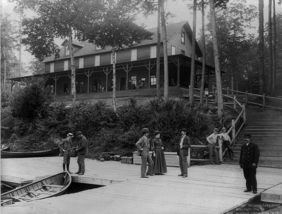 Raquette Lake Hotel in the Adirondack Mountains, NY Seneca Ray Soddard, 1889 library of Congress Prints and Photographs Division Washington, D.C. 20540 USA LC-USZ62-66490 (b&w film copy neg.