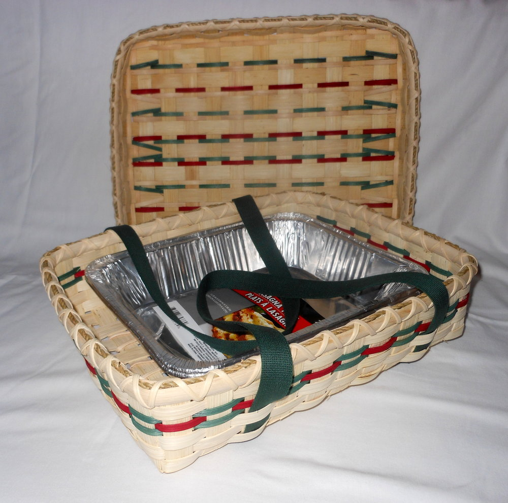 lidded casserole basket with cotton webbing - A linda Scherz exclusive!