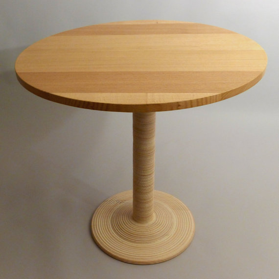 Red Oak Bistro Table, Round Café Table With Solid Oak Base