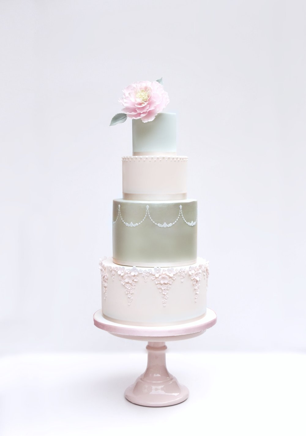 Mint green and blush wedding cake design by Hertfordshire wedding cake company Meadowsweet Cakes