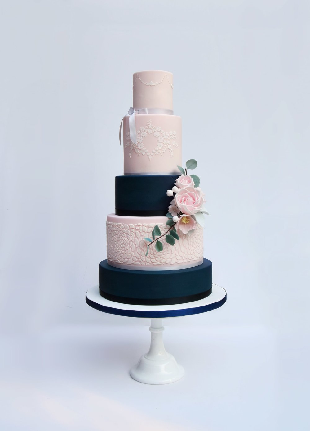 Cambridge Wedding Cake blush and Navy by Meadowsweet Cakes