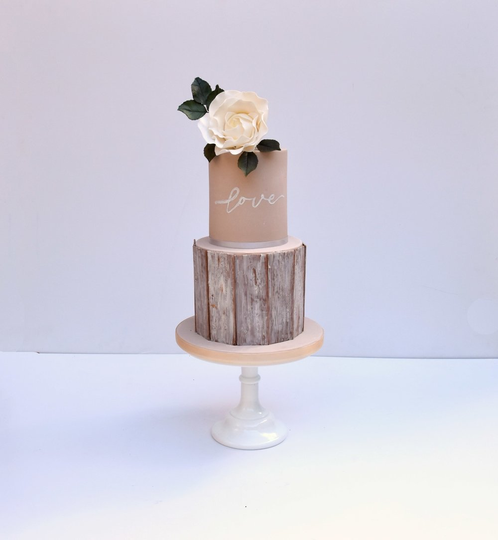 Shabby chic wedding cake with modern rose by Meadowsweet Cakes