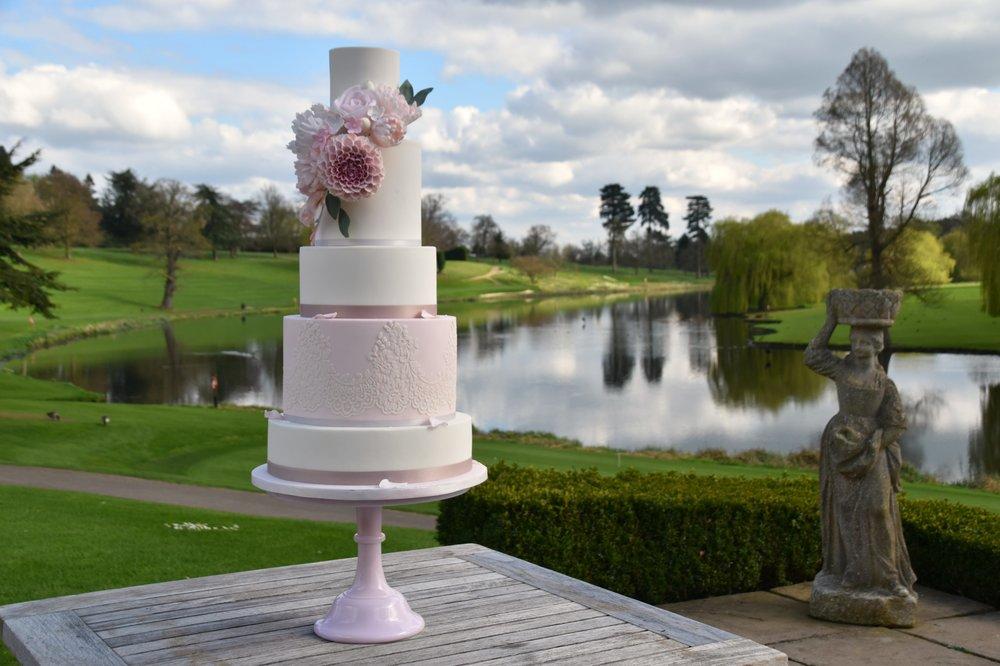 Brocket Hall luxury wedding cake by Meadowsweet Cakes
