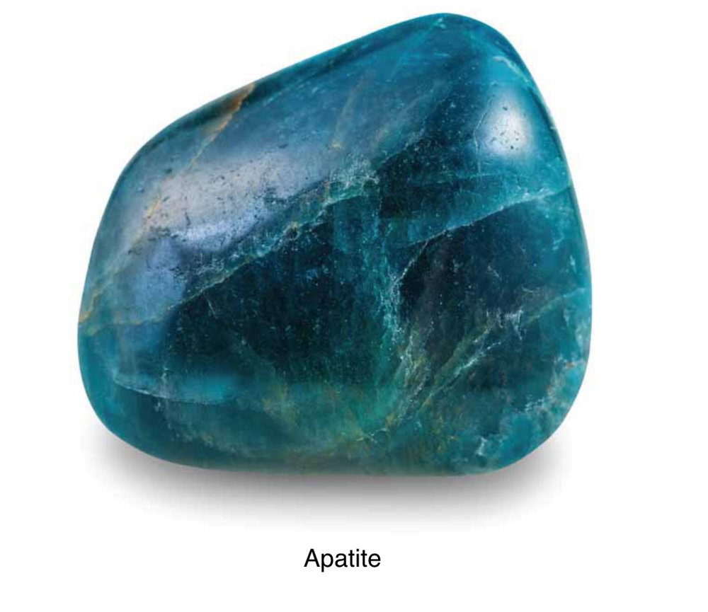 Apatite - A stone of manifestation, attuned to the future, yet connected to past lives. It balances the physical, emotional, mental & spiritual bodies. Promotes a humanitarian attitude. Aids communication & induces openness & social ease.