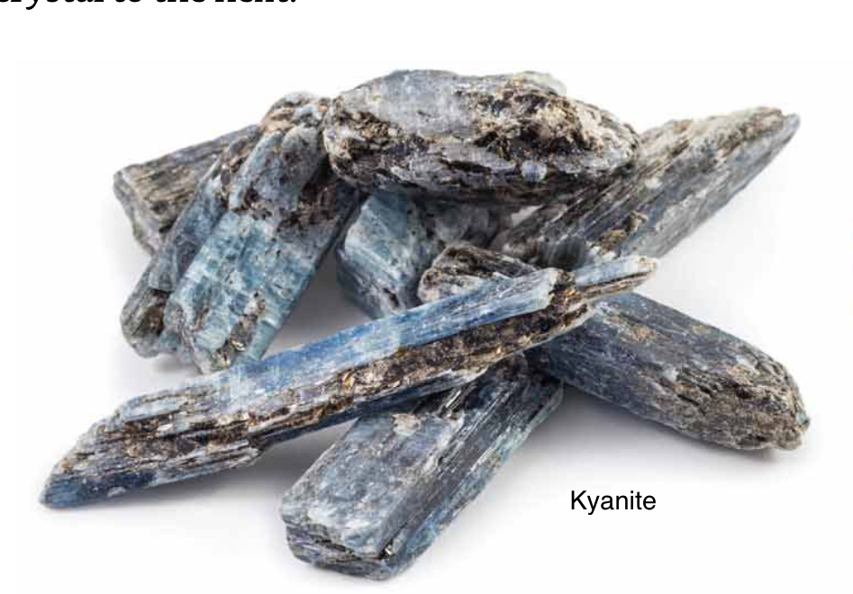 Kyanite - Excellent stone for attunement and meditation. A powerful transmitter and amplifier of higher energy. Never needs cleaning. Kyanite points to your true identity and fulfilling vocation.