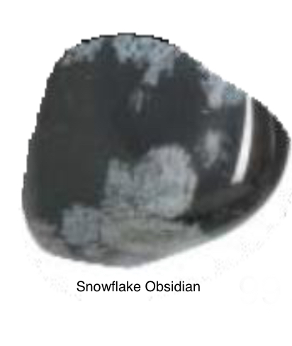 Snowflake Obsidian - A stone of purity, providing balance for body, mind, & spirit. It calms & soothes making you receptive & releasing emotional blockage. Teaches one to surrender in meditation. Helps one value mistakes as well as successes. Shows one the gift of experiences.