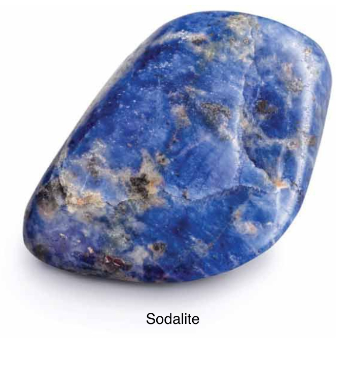 Sodalite - Uniting logic with intuition. Sodalite opens spiritual perception bringing the higher mind down to the physical. Instilling a drive for truth. An urge towards idealism. Sodalite encourages being true to yourself.