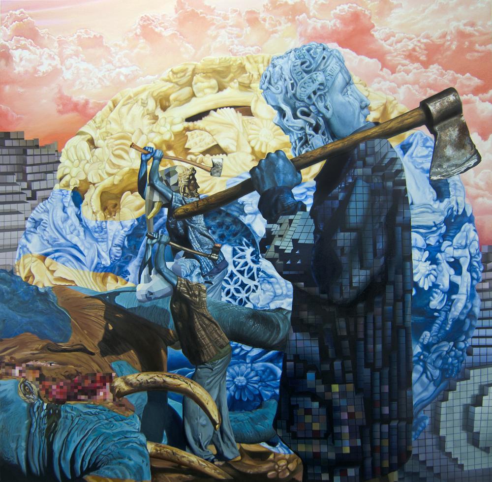"Blood Ivory  | 18"" x 18"" | Acrylic on panel | 2015"