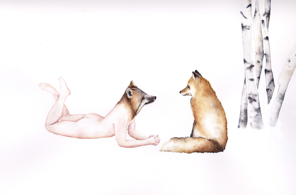 Fox Apprentice #1  (Detail), 2016, Watercolor on paper, 26 1/2 × 34 1/4 in (67.3 × 87 cm)