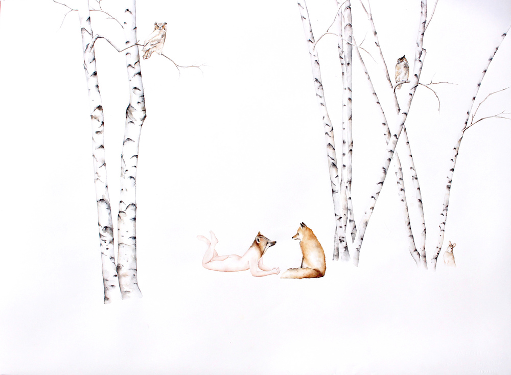 Fox Apprentice #1 , 2016, Watercolor on paper, 26 1/2 × 34 1/4 in (67.3 × 87 cm)
