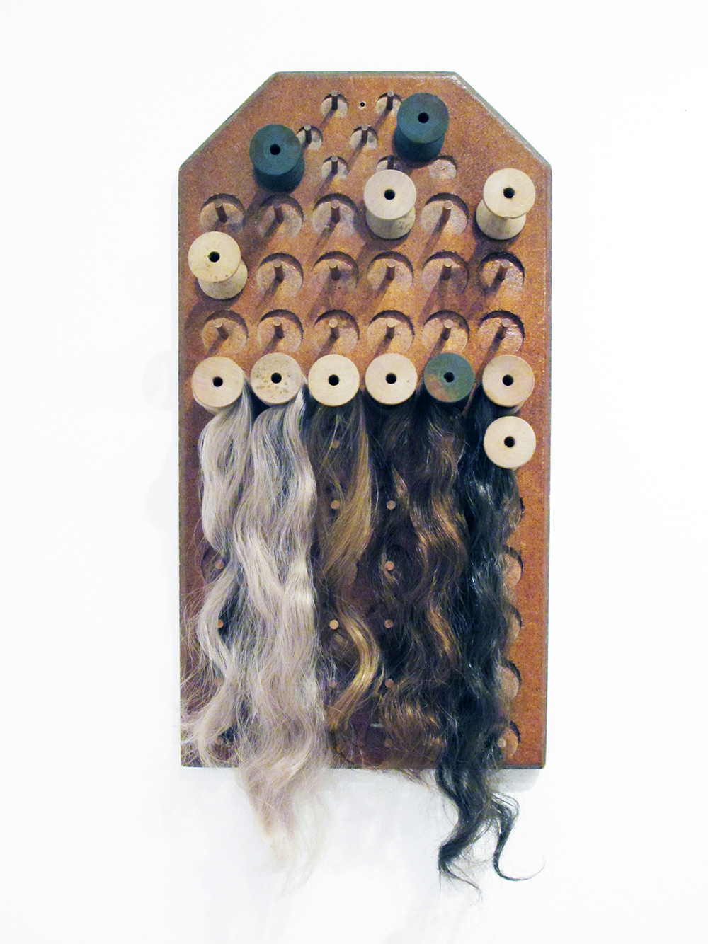 Workshop , 2014 | Human hair & found wood | Private collection
