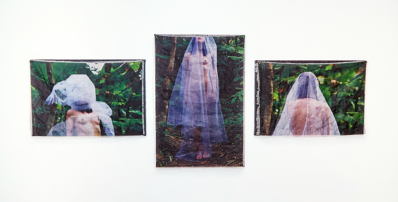 "Viaticum Triptych , 2015 - 2016 | Pigment on silk organza and stretched felt | 29"" x 75"" 