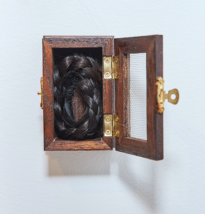 "Braid Box , 2016 | Wood, brass, hair of artist | 4"" x 2.5"" x 2"""